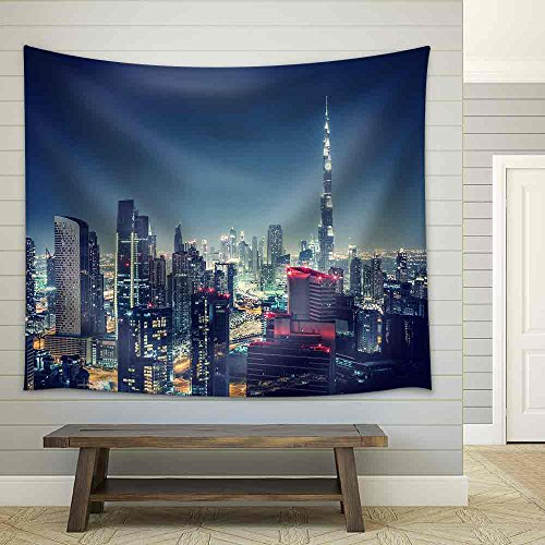wall26 - Beautiful Dubai Cityscape, Bird'S Eye View on a Night Urban Scene - Fabric Wall Tapestry Home Decor - 51x60 - Town East Mall