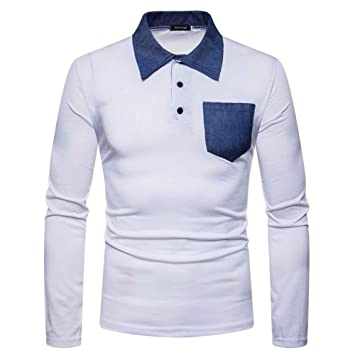 NISHIPANGZI Jean Polo Patchwork Moda Hombres Otoño Nueva Slim Fit ...