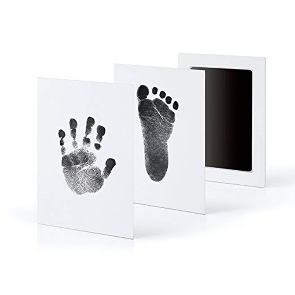 Newborn Baby Clean Touch Handprint Footprint Inkless Pad with 2 PCS Imprint Cards Baby Shower Registry Gift (Black)