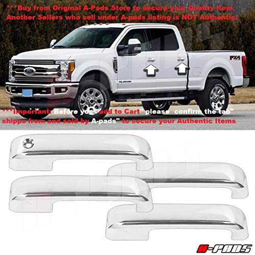 A-PADS Chrome Cover for 2017-2018 Ford F250 F350 F450 4 Door Handles Without Smart Keyhole Without Passenger Smart Keyhole