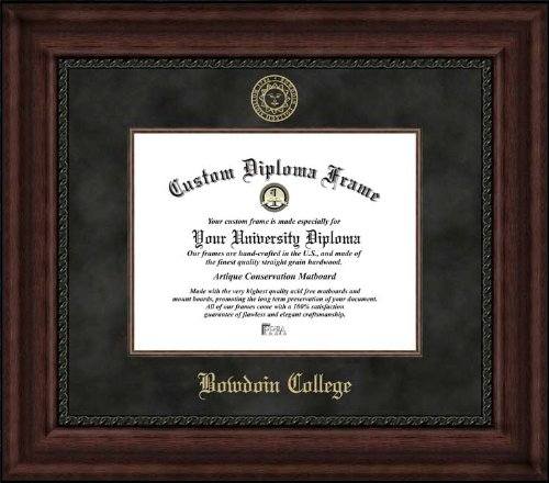 (Laminated Visuals Bowdoin College Polar Bears - Embossed Seal - Suede Mat - Mahogany - Diploma Frame)