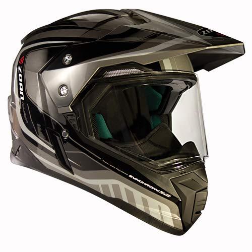 (Zoan Synchrony Tourer Silver Double Lens Dual Sport Snowmobile Helmet 3X-Large)