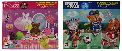 Jumbo Piece Floor Puzzles, 2'x3', Princess, Sports Pals ()