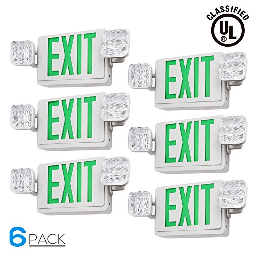 Green LED Emergency Exit Light with Battery Backup, UL-Listed Exit Sign Light, AC 120V/277V, Dual Square Heads Lights for Hallways/Corridors/Stairways, Pack of 6