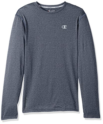 Champion Men's Double Dry Heather Long Sleeve T-Shirt, Navy Heather, Large ()