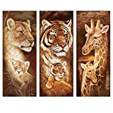DIY 5D Diamond Painting, 3 Piece Full Circle Diamond Painting Set Lion Tiger Giraffe Canvas Size 10inX22in (Color: A0345, Tamaño: 10in*22in)
