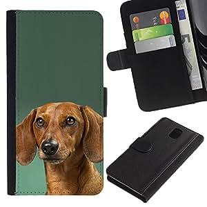 Dachshund Green Doxie Dog Puppy - la tarjeta de Crédito Slots PU Funda de cuero Monedero caso cubierta de piel Samsung Galaxy Note 3 III