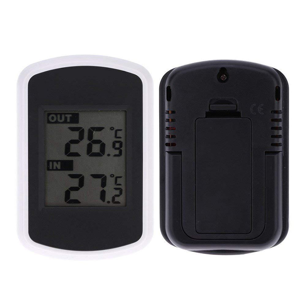 SODIAL LCD Thermometre Digital sans Fil Interieur et Exterieur
