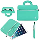 "10.1 Inch Tablet Sleeve, KOZMICC Tablet Case Cover (Mint Turquoise Teal Green/White) w/ Handle, Premium Neoprene, Front Pocket for Apple iPad (All), iPad Pro 9.7"" Inch, nabi 2, Samsung Galaxy Tab 4 / S / A / Note / Pro 9.7 10.1 10.5, Dell Venue Pro 10 7000 5000, ASUS Transformer Pad / Book T100 Chi TF300T TF103C, Lenovo Yoga Tablet / Miix / A / TAB 2 10, HP 10 / 10 Plus / Pavilion x2, Acer Iconia Tab 10, Toshiba Encore, TRIO STEALTH G2, Dragon Touch E97, RCA [Fits Up to 10.4 x 8 Inch Tablets]"