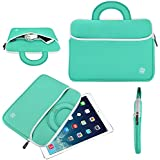 10.1 Inch Tablet Sleeve, KOZMICC Tablet Case Cover (Mint Turquoise Teal Green/White) with Handle