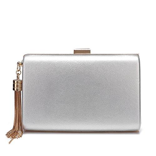 - Leather Evening Clutch Handbag Clutch Purse Prom For Cocktail Wedding Women Silver