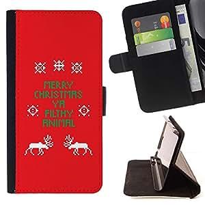Momo Phone Case / Flip Funda de Cuero Case Cover - La Navidad divertida del texto Rojo X-Mas - HTC Desire 626