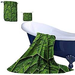 Leigh R. home Bath Towel Set,Brazilian Rain Tropic Exotic Forest Tree Big Huge Leaf Macro Texture Art Print Natural Cotton Comfortable Super Soft Luxury (3 Towels)