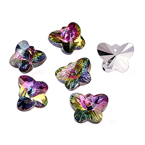 Craftdady 20Pcs Rainbow Color Electroplated Faceted Glass Butterfly Charms 12x15mm with Silver Plated Back for DIY Jewelry Craft Making