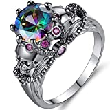 Jude Jewelers Retro Vintage Skull Gothic Statement Promise Cocktail Party Biker Ring (Fire, 9)