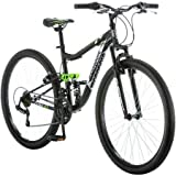 27.5 Mongoose Ledge 2.1 Men's Bike for a Path, Trail & Mountains,Black, Aluminum Full Suspension Frame, Twist Shifters Through 21 Speeds by Mongoose