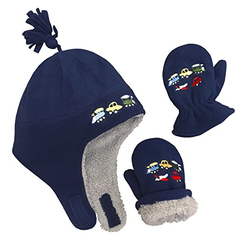 N'Ice Caps Little Boys and Baby Sherpa Lined Fleece Embroidered Hat Mitten Set (2T-4T, Navy/Gray Sherpa (Boys Hat Glove)
