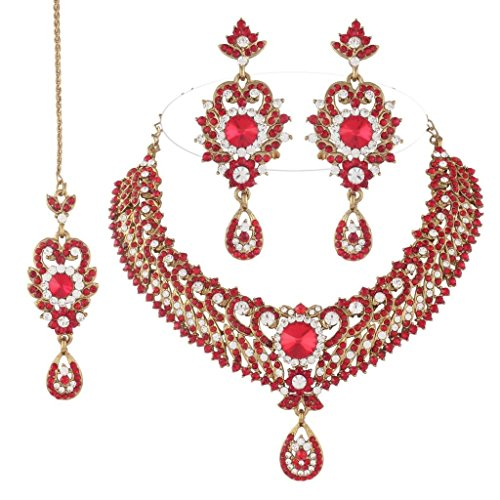 I Jewels Women's Traditional Gold Plated Bridal Jewellery Set With Maang Tikka Red from I Jewels