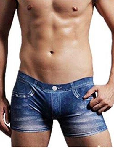 Aidonger Sexy Herren Hauteng Denim Seide Slip Unterhose Schön Mann Boxer shorts mit unter Filp-Flops
