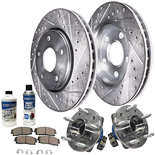 Detroit Axle - Front Wheel Bearing & Hub, Drilled and Slotted Disc Brake Rotors w/Ceramic Pads for 1997-2003 Chevy Malibu - [99-04 Olds Alero] - 99-05 Pontiac Grand Am - [97-99 Cutlass]