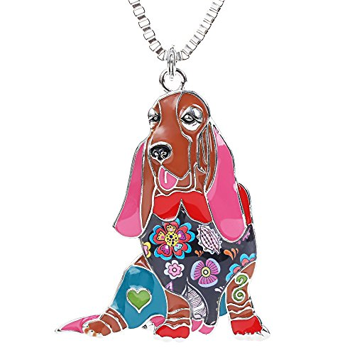 Marte&Joven Basset Hound Pendant Necklace for Girls Handmade Enamel Pets Dog Statement Gifts Jewelry