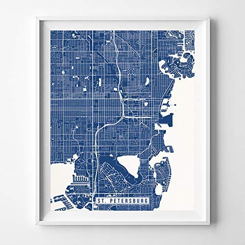 St Petersburg Florida Map.Amazon Com St Petersburg Florida Map Print Street Poster City Road