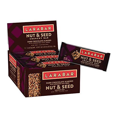 Larabar Crunchy Nut & Seed Gluten Free Bar, Dark Chocolate Almond with Sprouted Chia Seeds, 1.24 oz Bars (15 Count)