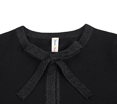 Benito & Benita Girl's Sweater Crew Neck Cardigan Long Sleeve Cotton Sweater with Bows Black/Red for 3-12Y by Benito & Benita (Image #4)