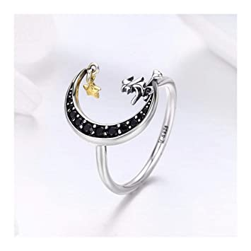 prix bas mieux choisir profitez de la livraison gratuite MWTWM Bague en Argent Lune Sorcière Ring Star Fashion ...
