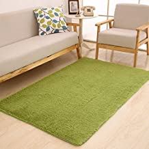 TideTex Modern Decorative Shaggy Area Rugs Children Kids Playing Mat Livingroom Rug Bedroom Bedside Rugs Washable Non-slip Door Mat (2'6x5'3, Green)