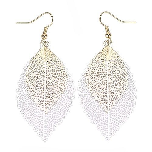 puxiaoa Girls Metal Openwork Double Leaf Pendant Earrings Pendant Ladies Jewelry Gifts