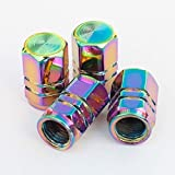 Neo Chrome Rainbow Tire Stem Valve Caps Cover (Set of 4pcs) Aluminum with Gasket Rubber Rings Universal fit for All cars and Bike (Hexagon Style)