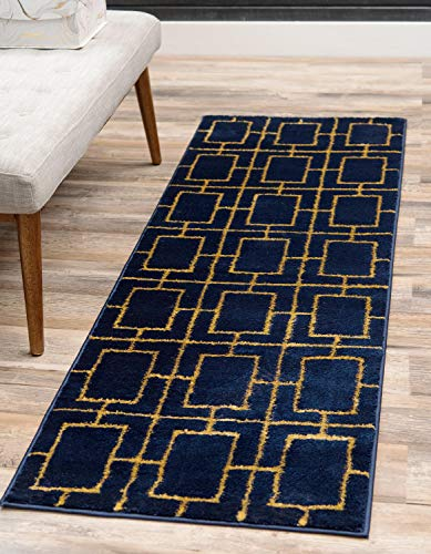 Unique Loom Marilyn Monroe Glam Collection Textured Geometric Trellis Navy Blue Gold Runner Rug (2' 0 x 10' 0) ()