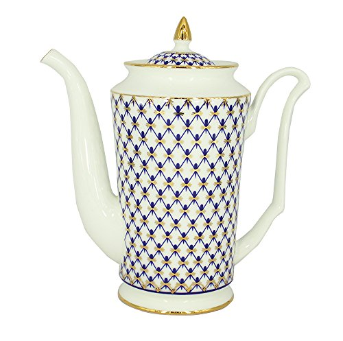 Lomonosov Bone China Porcelain Coffee Pot Julia Cobalt Net 23.3 fl.oz/690 ml Cobalt Net Bone China
