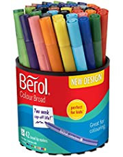 Save on Berol Felt Tip Colouring Markers, Broad Point (1.2 mm), Washable, Assorted Colours, Tub of 42 and more