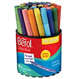 Berol Felt Tip Colouring Markers, Broad Point (1.2 mm), Washable, Assorted Colours, Tub of 42
