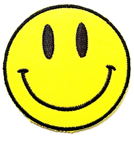 (PP Patch Cute Yellow Smiley Face Retro Boho Hippie 70s Fun Smile Applique Iron-on Patch for Clothes Backpacks T-Shirt Jeans Skirt Vests Scarf Hat Bag)