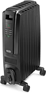 DeLonghi Oil-Filled Radiator Space Heater, Quiet 1500W, Adjustable Thermostat, 3 Heat Settings, Timer, Energy Saving, Safety Features, Nice for Home with Pets/Kids, Black