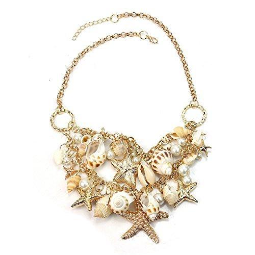Hot Sweet Chunky Gold Tone Sea Shell Starfish Pearl Bib Statement Necklace (Costume Ideas Guys)