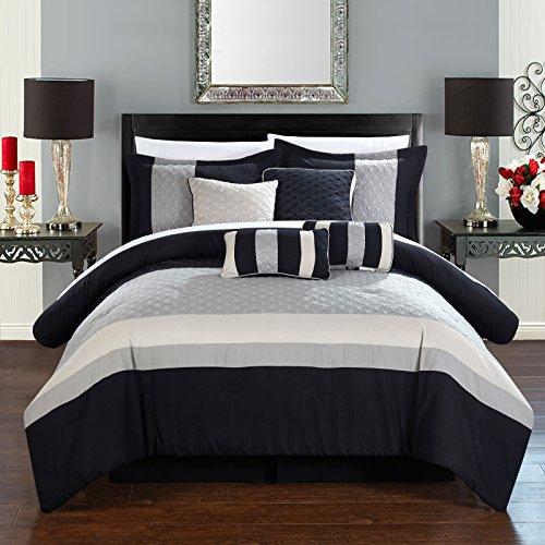 - Chic Home Diamante 8 Piece Comforter Set, Queen, Beige,