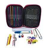 levylisa Craft Sewing Kit+ Crochet Kit And Knitting 49 Pieces Accessories - Most Useful For Home,Travel Perfect For Adults And Kids Includes Sewing Tools Crochet Hooks Yarn Knitting Needles