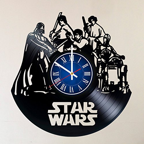 STAR WARS 12 INCH/30 CM VINYL RECORD WALL CLOCK - Modern Large Darth Vader and Luke Skywalker Art - GIFT FOR BOYS - Gift idea for children, teens, adults -