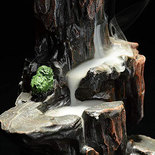 LEAFIS Waterfall Monk Backflow Incense Burner Mountain Tower Incense Holders for Home Office Yoga Aromatcherapy Ornamen (with 10 Cones) by LEAFIS (Image #4)