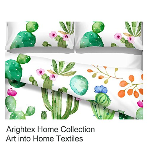 Bright Cactus Pattern Bedding Set Green Plants Cactus