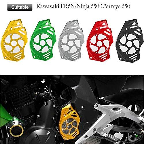 FATExpress Motorcycle Billet CNC Aluminum Front Chain Guard Sprocket Engine Cover for Kawasaki Ninja Versys Vulcan S 650 2006 2007 2008 2009 2010 2011 2012 2013 2014 2015 2016 (Black)