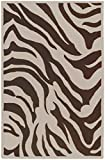 9' x 13' Jewel of Africa Zebra Print White and Brown Wool Area Throw Rug