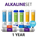Express Water - 1 Year Alkaline Reverse Osmosis System Replacement Filter Set - 10 Filters with 100 GPD RO Membrane - 10 inch Size Water Filters