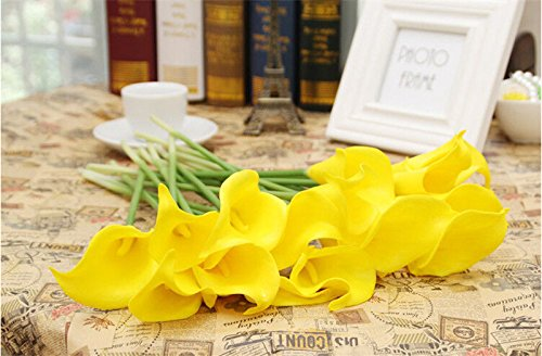 """14"""" Real Touch Latex Calla lily bunch artificial spring flowers for home decor, wedding bouquets, and centerpieces (18 PCS) (Yellow)"""