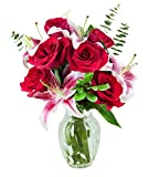 KaBloom Season of Love Bouquet of Fresh Red Roses and Pink Stargazer Lilies Accented with Lush Greens with Vase