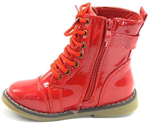 New Cute Girls Kids Round Toe Combat Military Lace up Ankle Mid Calf Boots Shoes Red-1 Ge8pmcwK
